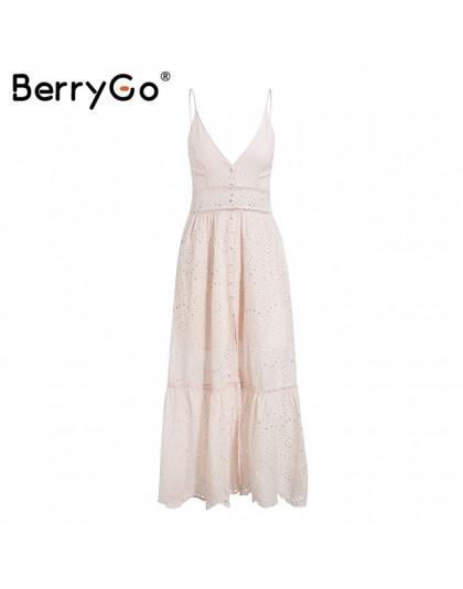BerryGo perlas blancas sexy vestido de verano de mujer 2019 ahuecado bordado maxi vestidos de algodón noche Fiesta vestidos larg