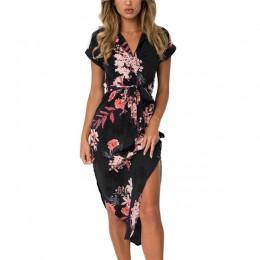 Mujeres Vestido de playa con estampado Floral moda Boho Vestidos de verano señoras Vintage vendaje ceñido vestido de fiesta Vest