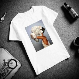 Nuevo algodón Harajuku estética camiseta Sexy flores pluma estampado y Camisetas manga corta Camisetas moda Casual pareja camise
