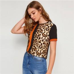 SHEIN bloque de Color cortar y coser Panel de leopardo superior de manga corta cuello redondo Camiseta Casual mujeres 2019 veran