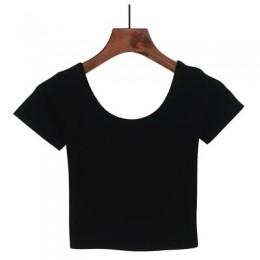 Camiseta con cuello en U de Harajuku para mujer, camiseta negra Sexy de manga corta, camiseta para mujer