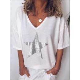 2019 nueva camiseta de moda para mujer, lentejuelas, cuello en V, camisetas de estrella de cinco puntas, camisetas de manga cort