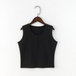Camiseta negra de cuello redondo sin mangas de Harajuku para Mujer Camiseta de algodón recortada superior para Mujer chicas seño