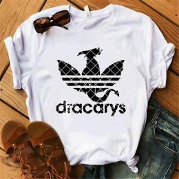 Dracarys juego de trono camiseta femenina mujer verano 2019 Camiseta con estampado de dragón blanco Casual de talla grande Stree