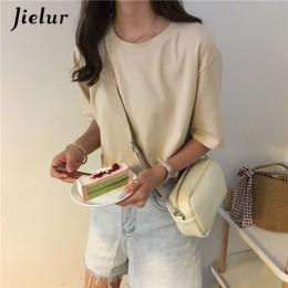 Jielur Tee camisa de 15 Color sólido Camiseta básica mujer Casual o-Cuello Harajuku verano coreano Hipster blanco T camisa S-XL