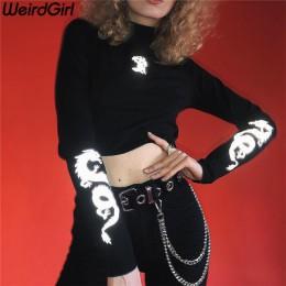 Weirdgirl camisetas de mujer con estampado de dragón reflectantes moda cuello alto manga larga ajustado Harajuku camisetas para