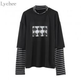 Lychee primavera otoño mujer camiseta carácter letra impresión raya Patchwork Casual suelta manga larga Camiseta camiseta