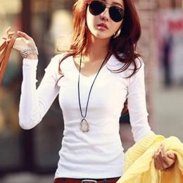 Camiseta básica de manga larga para mujer 2016 primavera otoño camiseta para mujer estilo coreano camiseta algodón nueva camiset