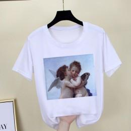 Camiseta de Mona Lisa para mujer parodia personalidad moda camiseta verano 2019 Harajuku estética camisetas blancas de manga cor