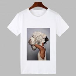 2019 camiseta de Harajuku con estampado de plumas y flores Sexy, camiseta de moda para mujer, camiseta de manga corta con cuello