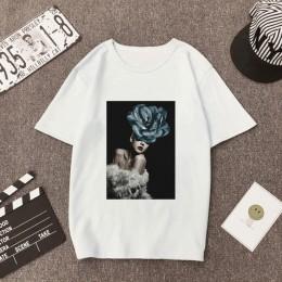De talla grande para Mujer verano estampado de moda Casual Camisetas Camiseta de manga corta de pluma de flores de señora cuello