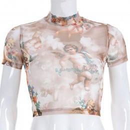 Camiseta Sexy de malla con estampado de Ángel Camiseta de cuello alto de manga corta con gráficos para mujer Streetwear Harajuku