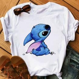 Camiseta a la moda para mujer Lilo Stitch Harajuku Kawaii camisetas encantadora de dibujos animados para mujer camiseta Casual e
