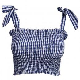 Camisola sin mangas de moda de Color sólido con estampado a cuadros Casual de verano para mujer