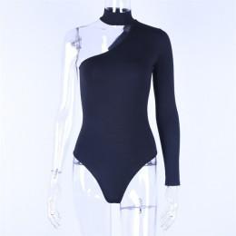 Hugcitar algodón halter un hombro sexy bodysuit mujer nueva moda 2019 invierno primavera sólido ceñido casual cuerpo de manga la