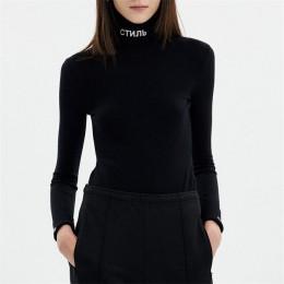 InstaHot algodón cuello alto letras bodis estampados otoño Sexy manga larga monos negro ceñido camisetas estilo sólido femenino