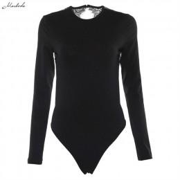 Macheda Sexy tela de retazos y encaje con espalda al aire Bodysuit negro cuello redondo de manga larga mujeres delgadas Bodysuit