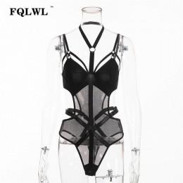 FQLWL transparente ceñido al cuerpo malla Bodysuit Sexy Halter cuello negro superior mujer sin espalda vendaje mono mujer verano