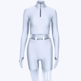 Hugcitar manga larga cremallera cuello alto elástico sexy crop tops shorts 2 piezas 2018 verano otoño moda mujer casual deportes