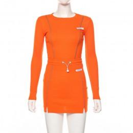 Conjuntos de minifalda y parte superior de manga larga de dos piezas a rayas reflectantes a la moda informal Simenual conjunto b