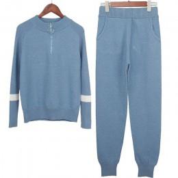 Lurex mujeres suéter trajes y conjunto Casual suéteres de punto pantalones 2 uds chándal cremallera mujeres pantalones + jerseys
