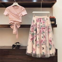 Alta calidad mujeres Irregular camiseta + faldas de malla trajes Bowknot sólido tapas Vintage Floral falda conjuntos mujer elega