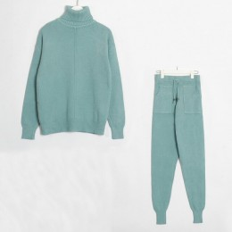 Wixra conjuntos y trajes de suéter para mujer de cuello alto de manga larga suéteres de punto + bolsillos pantalones largos 2 ud