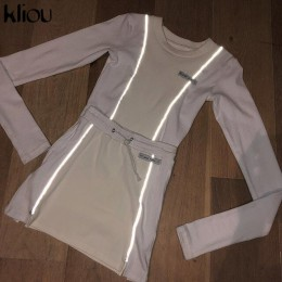 Conjunto de dos piezas de retazos a rayas reflectantes a la moda para mujer, 2019, blanco, manga completa, parte superior, atuen