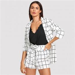 Sheinder negro y blanco Plaid chaquetas con muescas con auto Tie cintura Shorts mujeres dos piezas conjuntos 2019 elegante 2 pie