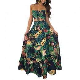 Boho nuevo Sexy conjunto de dos piezas para mujeres Top larga faldas con estampado floral Bandeau vendaje volantes alta cintura