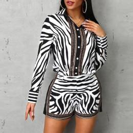 Las mujeres de impresión de cebra Buttoned camisa y cremallera conjuntos cortos completa Casual Breasted único giro-abajo Collar