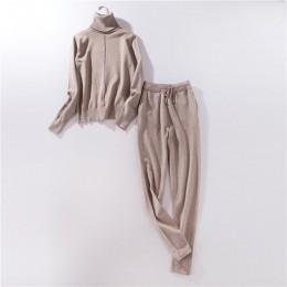 Traje de pista para mujer 2 piezas conjuntos Otoño Invierno jerseys de cuello alto y pantalones de punto largos trajes de punto