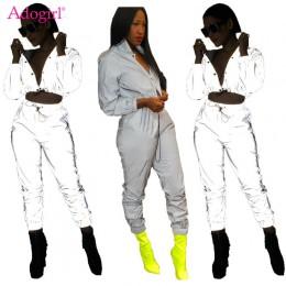 Adógirl mujer Sexy chándal reflectante versión nocturna botones cuello vuelto manga larga Crop superior + Pantalones casuales co