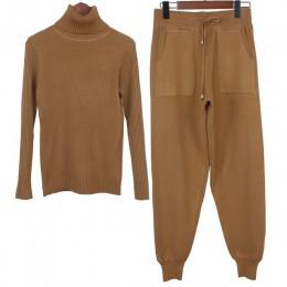 GIGOGOU para mujer de punto chándal suéter de cuello alto traje Casual Otoño Invierno 2 piezas conjunto de pantalones de punto t