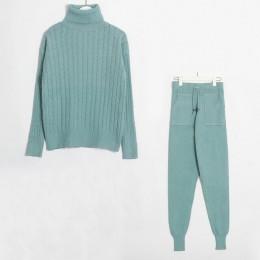 Wixra de punto para mujer conjuntos de suéteres de manga larga de cuello alto + bolsillos pantalones largos sólidos trajes de 2
