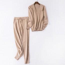 Conjunto de suéter y conjunto de suéteres tejidos para mujer Pantalones 2 uds trajes de pista para mujer Pantalones tejidos casu