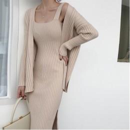 2019 nuevo de alta calidad de invierno de las mujeres de manga larga Casual Cardigan + tirantes suéter chaleco vestido de dos pi
