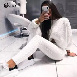 Ohvera conjunto de 2 piezas de punto para mujer Camisetas cortas de manga larga y pantalones largos Sexy 2018 invierno suéter co