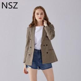 Chaqueta a cuadros elegante de mujer de la NSZ traje de manga larga de doble pecho ajustado a cuadros chaqueta Formal de trabajo