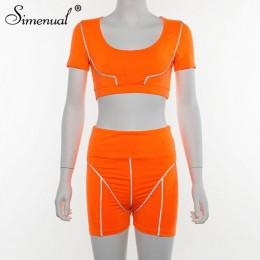 Conjuntos de dos piezas casuales de Color neón para mujer, ropa activa reflectante de moda, pantalones cortos y parte superior d