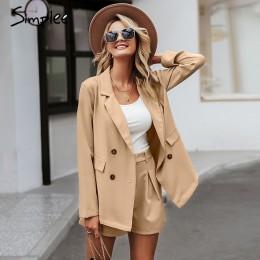 Simplee elegante traje corto de dos piezas para mujer Casual streetwear conjuntos de chaqueta femenina Chic 2019 traje de blazer