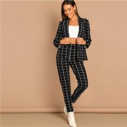 SHEIN negro Stretchy Grid Print chal cuello Plaid manga larga Blazer pantalones Set mujer otoño ropa de trabajo Morden Lady Twop