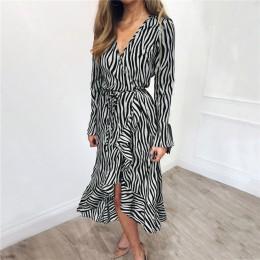 Verano Vestidos 2019 mujeres estampado de cebra playa gasa vestido Casual de manga larga cuello en V volantes vestido elegante v