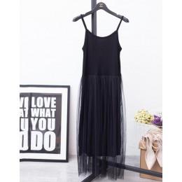 [CHICEVER] 2019 Sexy fuera del hombro verano mujeres Vestido Mujer suelta espagueti Correa malla señoras vestidos de fiesta nuev
