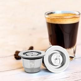 Nuevo Metal de acero inoxidable 2 en 1 Uso filtro de café cápsula reutilizable de espresso recargable Refilable 1 cuchara + 1 ce