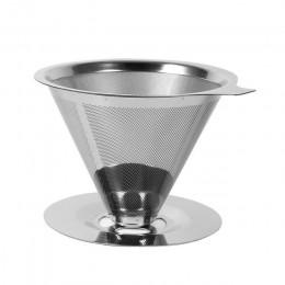 Filtro de café reutilizable soporte de acero inoxidable doble capa Metal malla embudo cestas café gotero té filtro herramientas