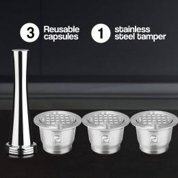 4 unid/set Cápsula de café de acero inoxidable recargable de acero inoxidable nueva versión Tamper reutilizable café Filt Pod re
