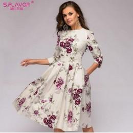 S. FLAVOR mujeres elegante vestido de línea a 2019 vestidos de fiesta de impresión Vintage tres cuartos de manga mujeres Delgado