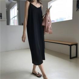 Atractivo de las mujeres Maxi vestido suelto vestidos sin mangas con cuello en V Honda largo negro vestido de fiesta vestido