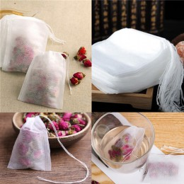 100 unids/lote Teabags 5,5x7 CM Bolsas de té vacías perfumadas con cuerda Heal Seal filtro de papel para hierbas té suelto Bolsa